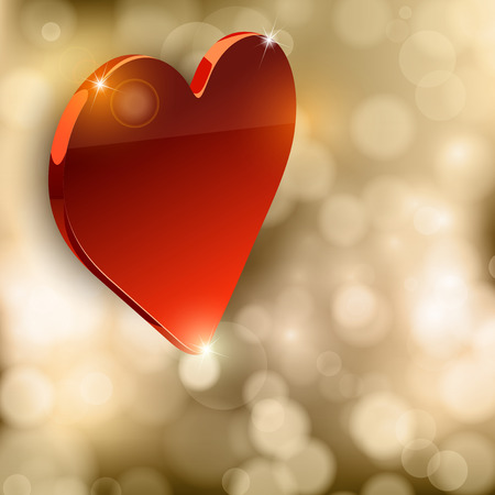 Glossy heart on the gold background. Luxury vector symbol. Vector