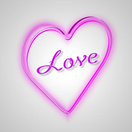 corazon rosa: Coraz�n rosado con el texto: AMOR vectorial de San Valent�n ilustraci�n.