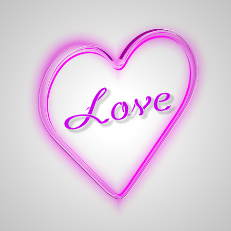 pink heart: Pink heart with text: LOVE Vector Valentines illustration.