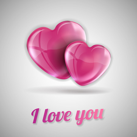 two hearts: I love you with two pink hearts.