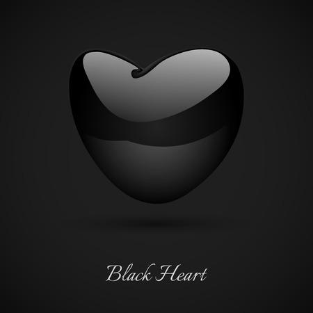 Black glossy heart  on the dark background.