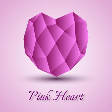 corazon rosa: Coraz�n rosado en el fondo gris. Forma vectorial.