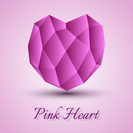 pink heart: Pink heart on the gray background. Vector shape.