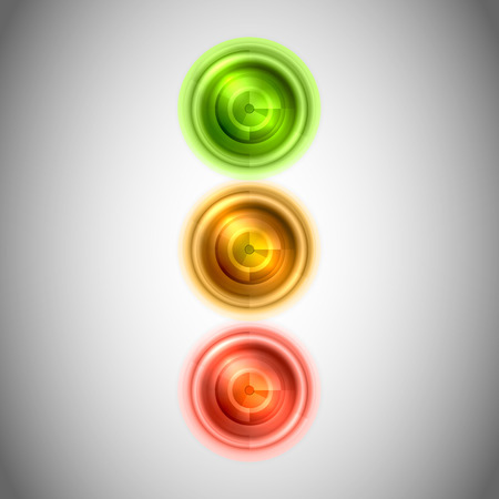 Abstract lighting stoplight. Green, yellow and red lights as semaphore.