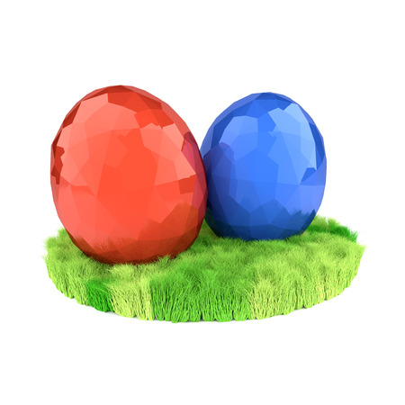 Two eggs on the green lawn. Easter symbols. Stock Photo