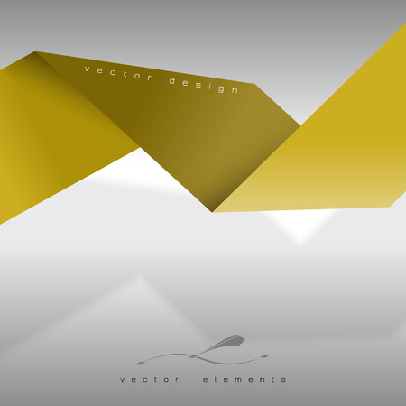 folded paper: Yellow folded paper as page layout or design elements. Illustration