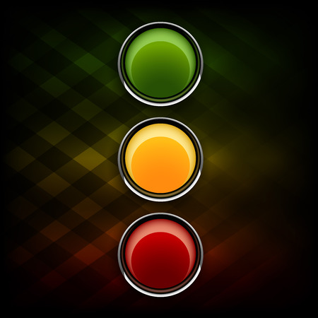 amber light: Green, orange and red buttons as stoplight symbol.