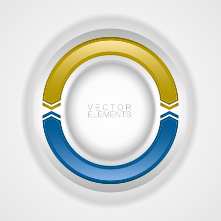 gold circle: Blue and gold circle on the light background. Design elements. Illustration