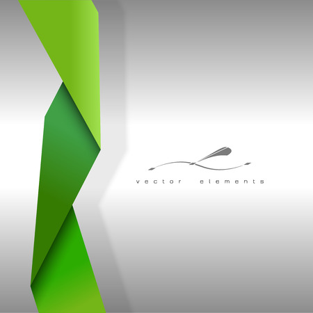 folded paper: Green folded paper as page layout or design elements.