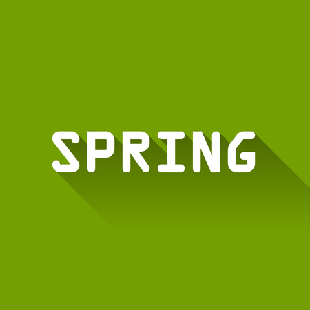 line pattern: White text Spring with long shadow on the green background.
