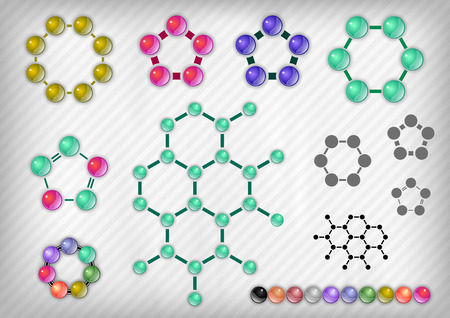 quimica organica: Elementos químico en el fondo gris. Elementos vectoriales.