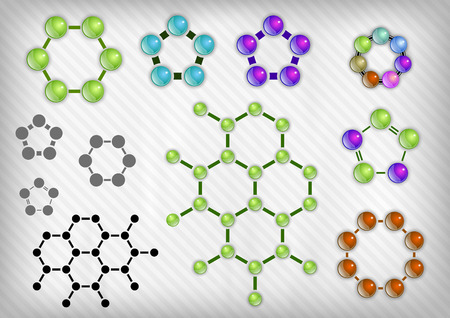 molecule symbol: Chemist elements on the grey background. Vector items.