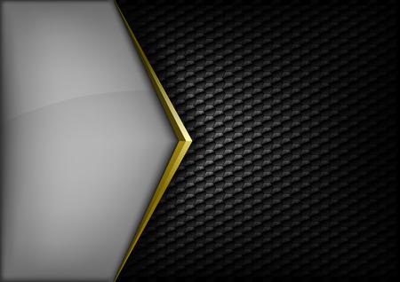 yellow black: Dise�o elegante y moderno. Flecha del oro entre los espacios grises y negros. Versi�n sin texto de ejemplo. Puede encontrar la versi�n con texto de ejemplo en mi galer�a.