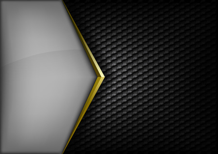 background cover: Modern elegant layout. Gold arrow between gray and black spaces. Version without sample text. You can find version with sample text in my gallery.