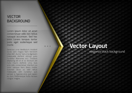 Modern elegant layout. Gold arrow between gray and black spaces. Version with sample text. You can find version without sample text in my gallery.