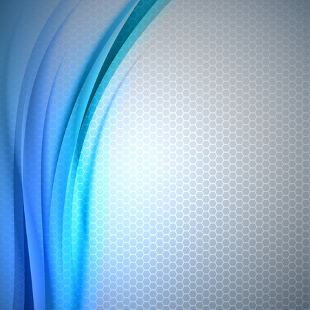 Abstract blue background with grey hexagon. Vector design. Ilustração