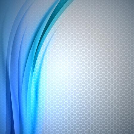 Abstraktní modré pozadí s šedým šestiúhelníku. Vector výprava.