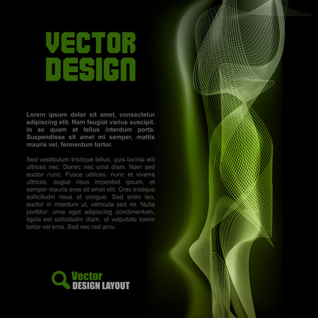 vector sample: Vector lines on the black background. Vector layout with sample text. Illustration