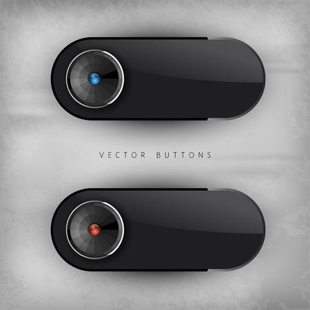 glossy buttons: Nero lucido pulsanti. Elementi di interfaccia. Versiont senza testo di esempio.