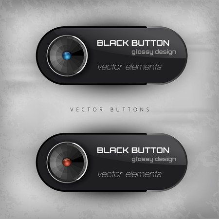 interface elements: Black glossy buttons. Interface elements. Versiont with sample text.
