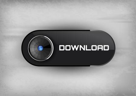 download button: Download button on the black background. Elegant design. Illustration