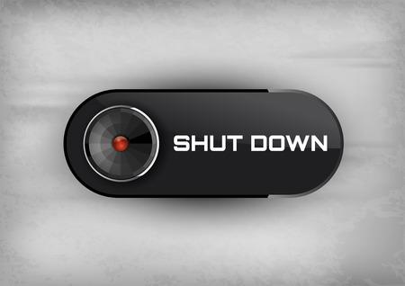 Shut down button on the black background. Elegant design.