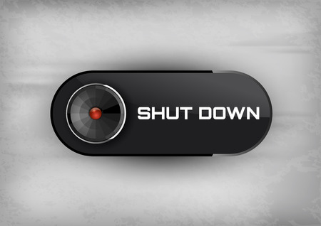 shut: Shut down button on the black background. Elegant design. Illustration