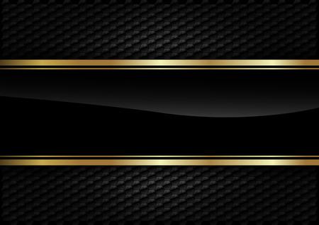 Černý pruh s zlatým okrajem na tmavém pozadí.