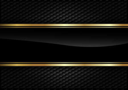 luxury template: Black stripe with gold border on the dark background.