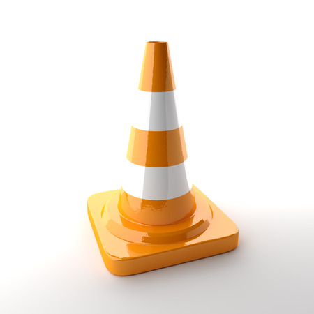 traffic cone: Traffic cone on the white background. 3D rendered image. Stock Photo