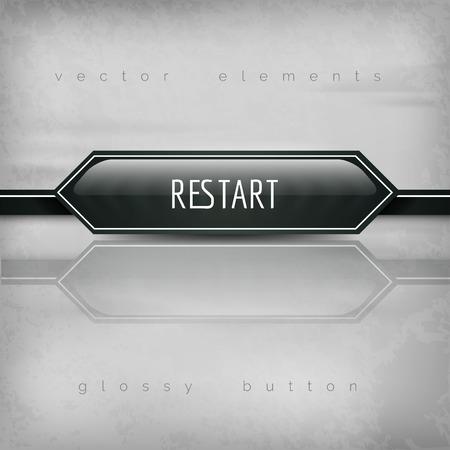 restart: Restart button. Vector design element.