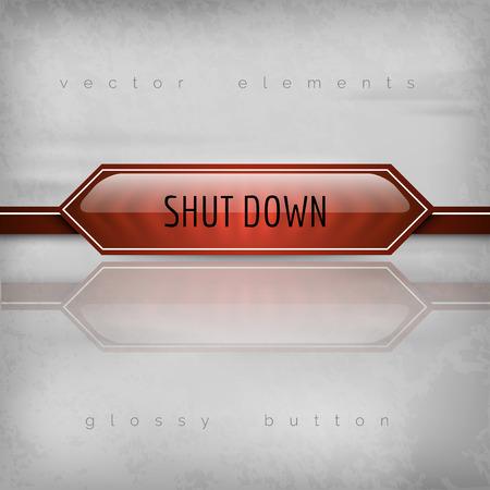 shut down: Shut down button on the gray background. Glossy design.