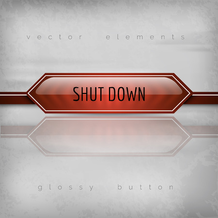Shut down button on the gray background. Glossy design.