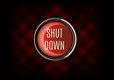 shut down: Elegant button from glossy material. Shut down symbol. Stock Photo