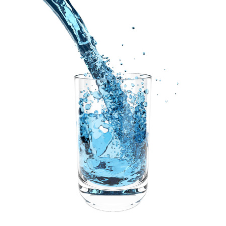 refracted: Splashing water with glass isolated on the white background.