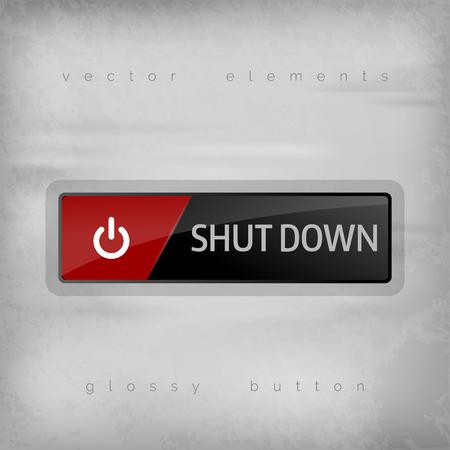 Shut down button on the gray background. Elegant design. Vector
