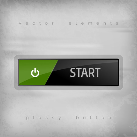 start button: Start button on the gray background. Elegant design. Illustration