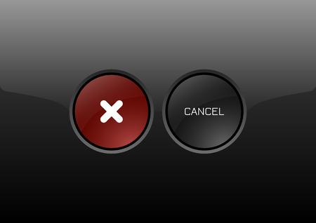 glossy buttons: Due cerchi come moderne lucido pulsanti ANNULLA. Icone vettoriali.