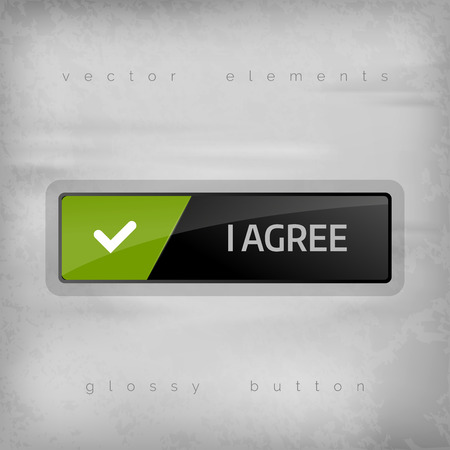 ok button: Modern buttons I AGREE with color space for icons. Vector design elements.