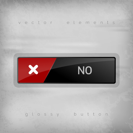 disapproval: Modern buttons NO with color space for icons. Vector design elements.