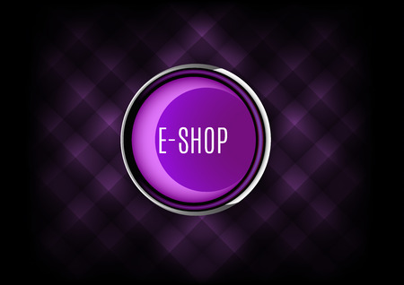Chrome buttons E-SHOP with plastic elements. Vector icons.