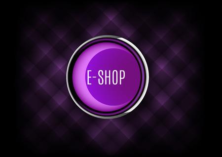 eshop: Chrome buttons E-SHOP with plastic elements. Vector icons. Illustration