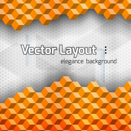 blocks: Orange squares as abstract layout. Vetor background.