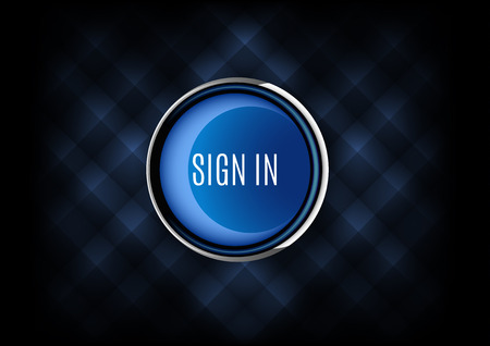 signup: Chrome buttons SIGN IN with plastic elements. Vector icons.