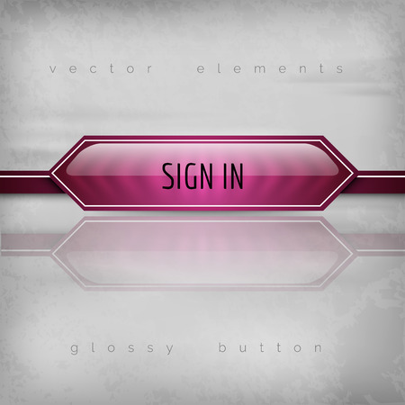 signup: Modern plastic buttons SIGN IN with sharp corners. Vector icons. Illustration