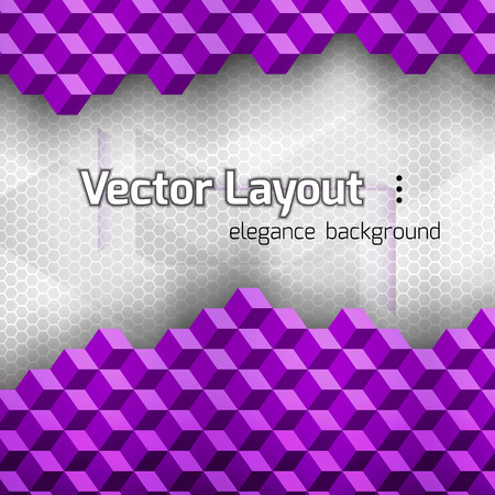 web technology: Purple squares as abstract layout. Vetor background.