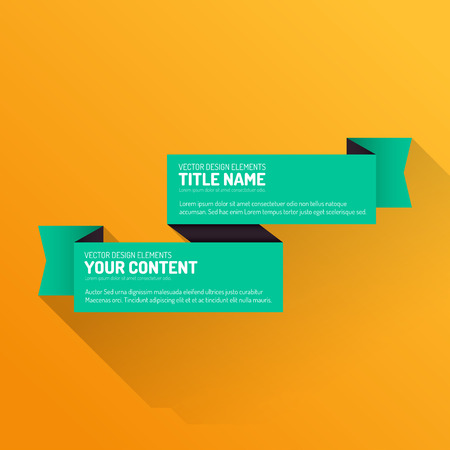business banner: Flat design ribbon with long shadow. Modern vector layout.