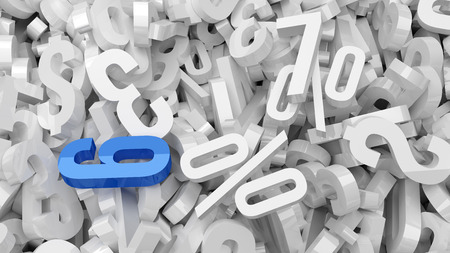 numerical code: A lot of white plastic numbers with one blue number.
