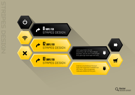 yellow vector: Modern hexagon layout. Black and yellow vector design.