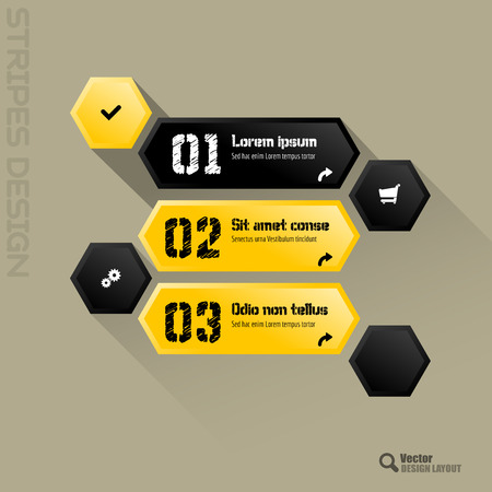 vector buttons: Modern hexagon layout with black and yellow vector buttons.